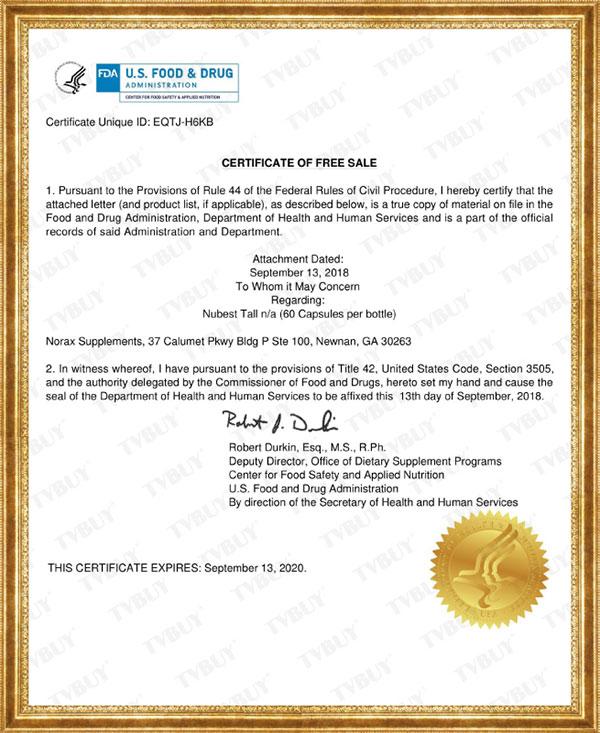 Chứng nhận FDA Hoa Kỳ của sản phẩm NuBest Tall